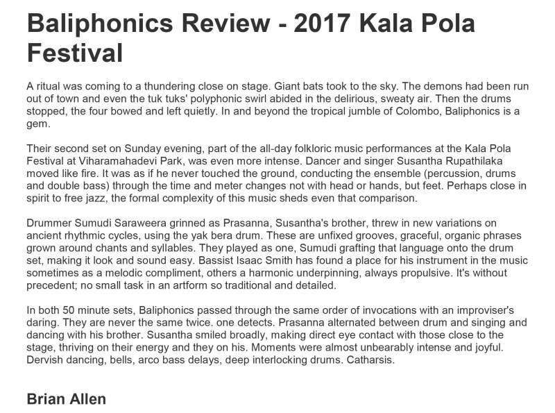Baliphonics Review Brian